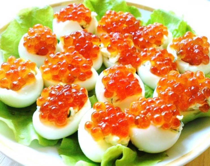 Фаршированные яйца с красной икрой рецепты