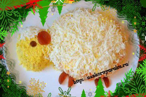 салат мимоза рецепт с фото в виде овцы