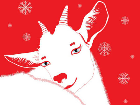 goat on a red background with snowflakes